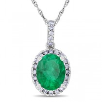 Emerald & Halo Diamond Pendant Necklace in 14k White Gold 2.14ct