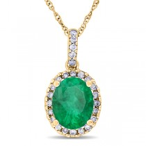 Emerald & Halo Diamond Pendant Necklace in 14k Yellow Gold 2.14ct