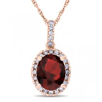 Garnet & Halo Diamond Pendant Necklace in 14k Rose Gold 2.34ct