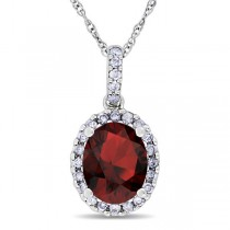 Garnet & Halo Diamond Pendant Necklace in 14k White Gold 2.34ct