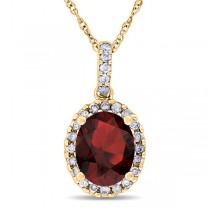 Garnet & Halo Diamond Pendant Necklace in 14k Yellow Gold 2.34ct