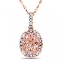 Morganite & Halo Diamond Pendant Necklace in 14k Rose Gold 2.84ct