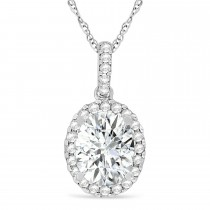 Moissanite & Halo Diamond Pendant Necklace in 14k White Gold 1.91ct
