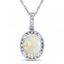 Opal & Halo Diamond Pendant Necklace in 14k White Gold 1.34ct