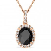 Onyx & Halo Diamond Pendant Necklace in 14k Rose Gold 2.14ct
