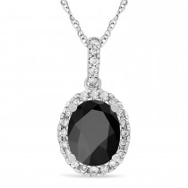 Onyx & Halo Diamond Pendant Necklace in 14k White Gold 2.14ct