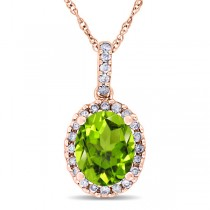 Peridot & Halo Diamond Pendant Necklace in 14k Rose Gold 2.24ct