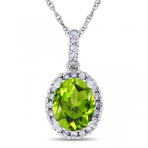 Peridot & Halo Diamond Pendant Necklace in 14k White Gold 2.24ct