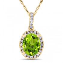 Peridot & Halo Diamond Pendant Necklace in 14k Yellow Gold 2.24ct
