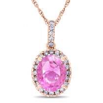 Pink Sapphire & Halo Diamond Pendant Necklace in 14k Rose Gold 2.44ct