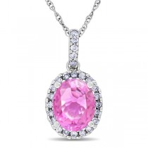 Pink Sapphire & Halo Diamond Pendant Necklace in 14k White Gold 2.44ct