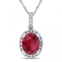 Ruby & Halo Diamond Pendant Necklace in 14k White Gold 2.44ct