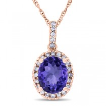 Tanzanite & Halo Diamond Pendant Necklace in 14k Rose Gold 2.44ct