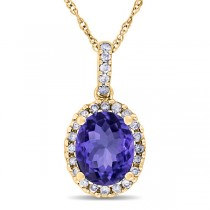 Tanzanite & Halo Diamond Pendant Necklace in 14k Yellow Gold 2.44ct