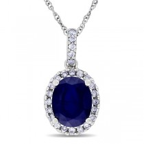 Blue Sapphire & Halo Diamond Pendant Necklace in 14k White Gold 2.90ct