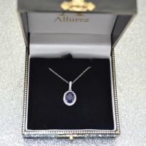Blue Sapphire & Halo Diamond Pendant Necklace in 14k White Gold 2.90ct|escape