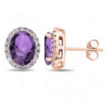 Oval Amethyst & Halo Diamond Stud Earrings 14k Rose Gold 3.92ct