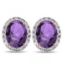 Oval Amethyst & Halo Diamond Stud Earrings 14k Rose Gold 3.92ct