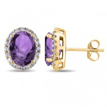 Oval Amethyst & Halo Diamond Stud Earrings 14k Yellow Gold 3.92ct