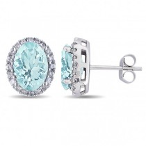 Oval Aquamarine & Halo Diamond Stud Earrings 14k White Gold 3.92ct