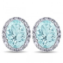 Oval Aquamarine & Halo Diamond Stud Earrings 14k White Gold 3.92ct