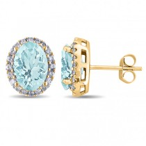 Oval Aquamarine & Halo Diamond Stud Earrings 14k Yellow Gold 3.92ct