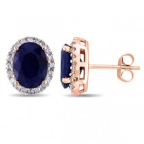 Oval Blue Sapphire & Halo Diamond Stud Earrings 14k Rose Gold 5.70ct