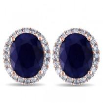 Oval Blue Sapphire & Halo Diamond Stud Earrings 14k Rose Gold 5.70ct