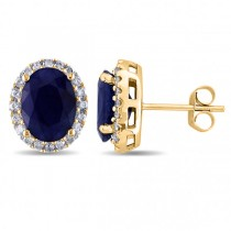 Oval Blue Sapphire & Halo Diamond Stud Earrings 14k Yellow Gold 5.70ct