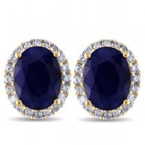 Oval Blue Sapphire & Halo Diamond Stud Earrings 14k Yellow Gold 5.70ct
