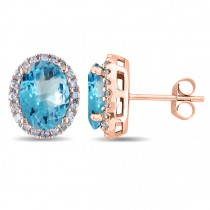 Oval Blue Topaz & Halo Diamond Stud Earrings 14k Rose Gold 5.40ct