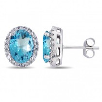 Oval Blue Topaz & Halo Diamond Stud Earrings 14k White Gold 5.40ct