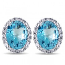 Oval Blue Topaz & Halo Diamond Stud Earrings 14k White Gold 5.40ct|escape