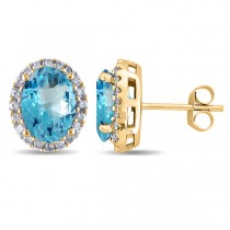 Oval Blue Topaz & Halo Diamond Stud Earrings 14k Yellow Gold 5.40ct