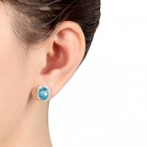 Oval Blue Topaz & Halo Diamond Stud Earrings 14k Yellow Gold 5.40ct