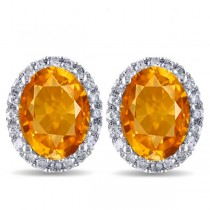 Oval Citrine & Halo Diamond Stud Earrings 14k White Gold 3.92ct