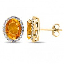 Oval Citrine & Halo Diamond Stud Earrings 14k Yellow Gold 3.92ct