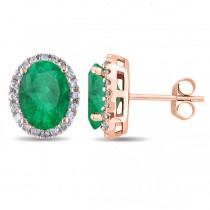 Oval Emerald & Halo Diamond Stud Earrings 14k Rose Gold 4.20ct