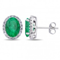 Oval Emerald & Halo Diamond Stud Earrings 14k White Gold 4.20ct