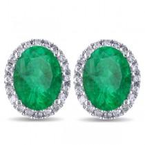 Oval Emerald & Halo Diamond Stud Earrings 14k White Gold 4.20ct