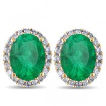 Oval Emerald & Halo Diamond Stud Earrings 14k Yellow Gold 4.20ct