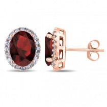 Oval Garnet & Halo Diamond Stud Earrings 14k Rose Gold 4.60ct