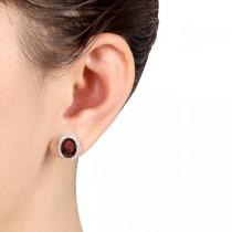 Oval Garnet & Halo Diamond Stud Earrings 14k Rose Gold 4.60ct