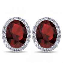 Oval Garnet & Halo Diamond Stud Earrings 14k White Gold 4.60ct