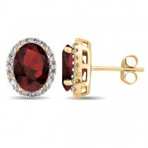 Oval Garnet & Halo Diamond Stud Earrings 14k Yellow Gold 4.60ct