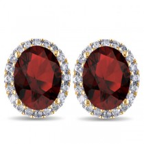 Oval Garnet & Halo Diamond Stud Earrings 14k Yellow Gold 4.60ct