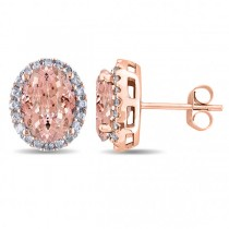 Oval Morganite & Halo Diamond Stud Earrings 14k Rose Gold 5.60ct