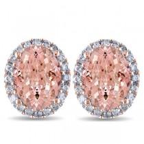 Oval Morganite & Halo Diamond Stud Earrings 14k Rose Gold 5.60ct