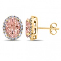 Oval Morganite & Halo Diamond Stud Earrings 14k Yellow Gold 5.60ct