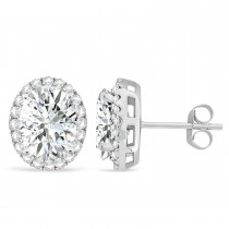 Oval Moissanite & Halo Diamond Stud Earrings 14k White Gold 3.82ct